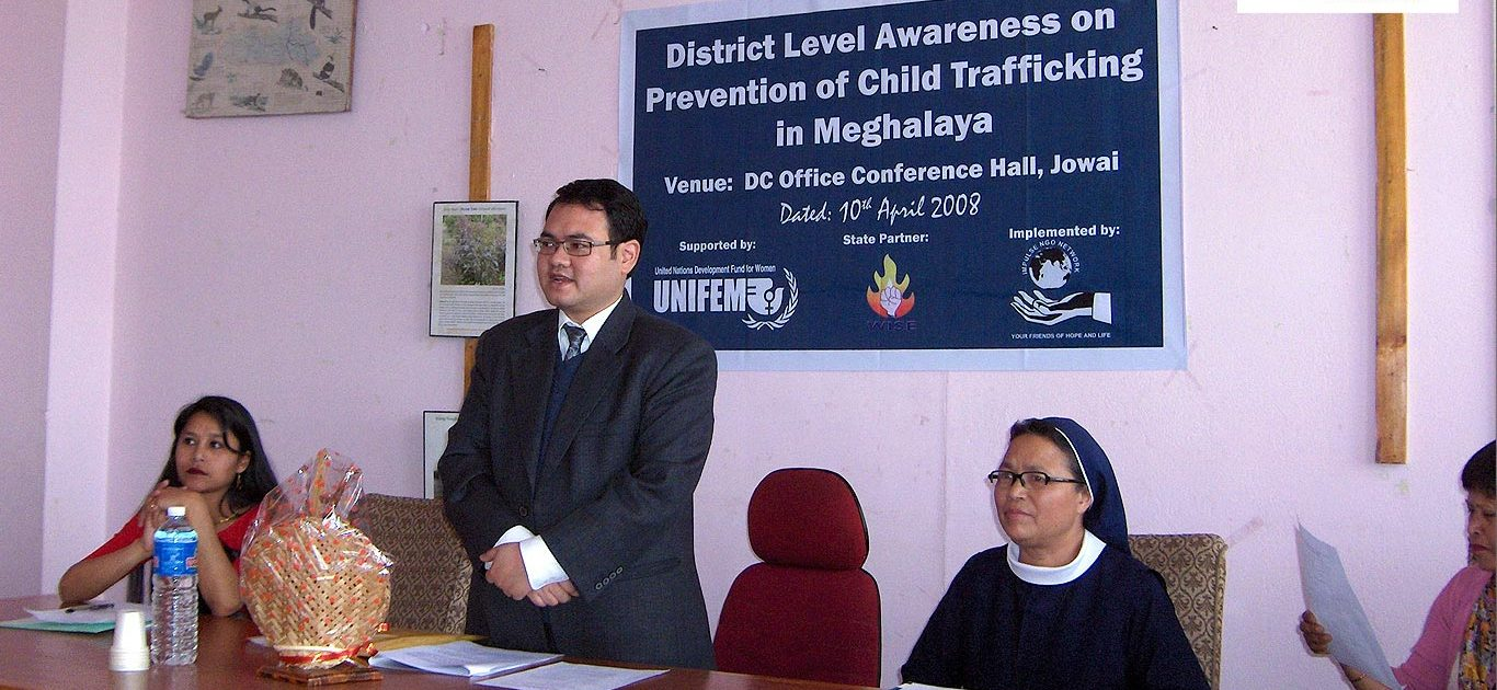 Shri Frederick Kharkongor, at the District Level Awareness and Prevention of Child Trafficking campaign.